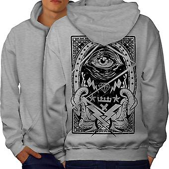 Triangle Horror Vintage Men GreyHoodie Back | Wellcoda