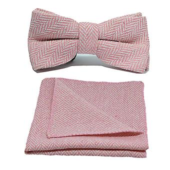 Candy Pink & Cream Herringbone Bow Tie & Pocket Square Set