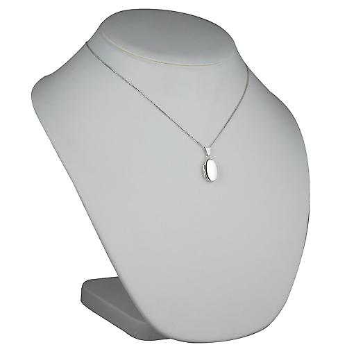 Silver 18x11mm plain oval Locket with Curb chain