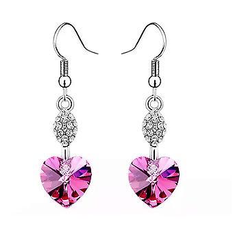 Corazón cuelgan aretes de color de rosa caliente mujeres encanto del Rhinestone