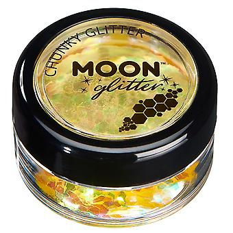 Iridescent Chunky Glitter by Moon Glitter – 100% Cosmetic Glitter for Face, Body, Nails, Hair and Lips - 3g - Yellow
