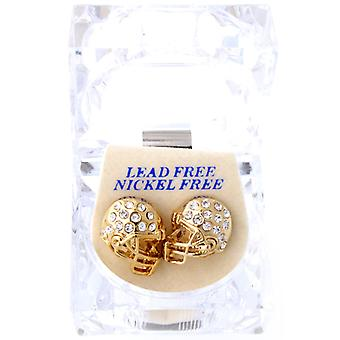 Iced out bling earrings box - FOOTBALL helmet gold