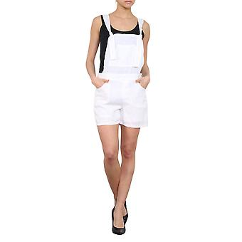 Ladies White Dungaree Shorts Relaxed Fit Bib Overall Shorts Eyelet Straps