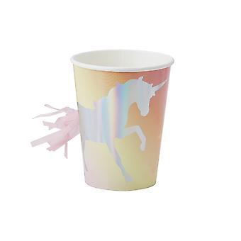 قزحي الألوان يونيكورن أحبطت شرابه ورقة الكؤوس باستيل جعل حزمة ترغب من 8