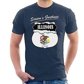 Seasons Greetings Illinois State Flag Christmas Men's T-Shirt