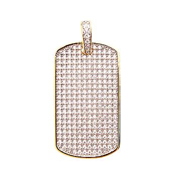 925 Iced Out Sterling Silber Anhänger - MINI DOG TAG gold