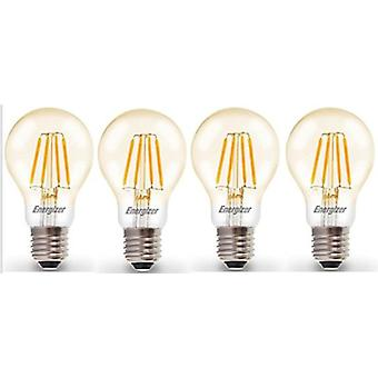 4 X Energizer LED Filament GLS Light Bulb Lamp Vintage ES E27 Clear 4.2W = 40W ES E27 Cap [Energy Class A+]