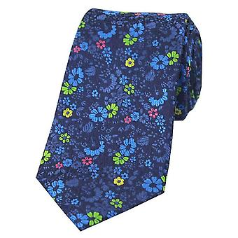 Posh and Dandy Small Flowers Silk Tie - Navy/Blue