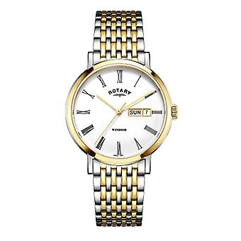 Reloj de GB05302/01 rotatorio Mens Windsor dos tonos plata y oro