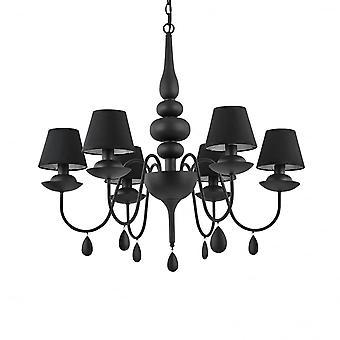 Ideal Lux Blanche 6 leichte schwarze Kronleuchter mit Kuli Schattierungen