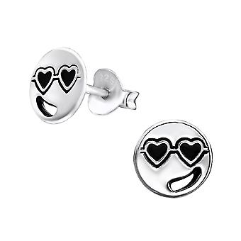 Love Face - 925 Sterling Silver Plain Ear Studs - W29343x