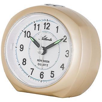Atlanta 1593/9 alarm clock quartz analog golden quietly without ticking with light Snooze