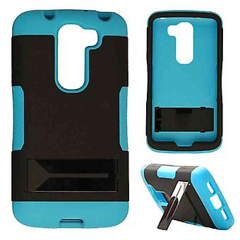 Hopper Protector Case for LG G2 Mini (Black Skin and Fluorescent Pearl Blue Snap with Stand)
