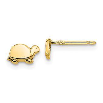 14 k gult guld polerad öppen rygg Post örhängen Mini sköldpadda för pojkar eller flickor örhängen - åtgärder 5x7mm