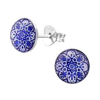 Patterned - 925 Sterling Silver Colourful Ear Studs - W28706x