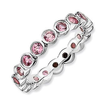 Sterling Silber Lünette poliert gemusterten rhodinierten stapelbar Ausdrücke Pink Turmalin Ring - Ring-Größe: 5 bis 10