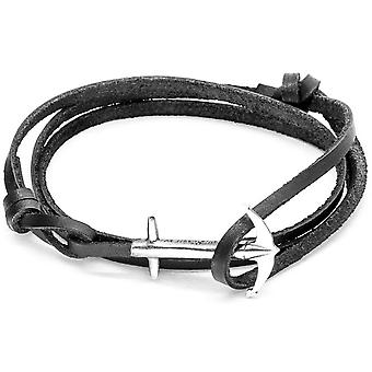 Anchor and Crew Admiral Silver and Leather Bracelet - Coal Black