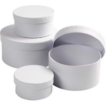 4 White Paper Mache Round Boxes to Decorate Largest 14x7cm | Papier Mache Boxes