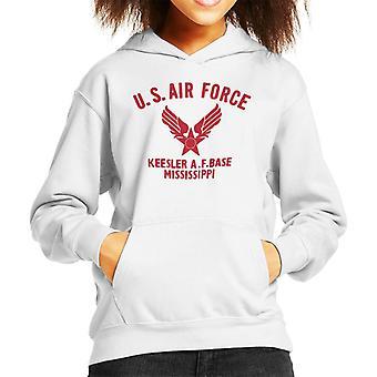 US Airforce Keesler AF Base Mississippi Red Text Kid's Hooded Sweatshirt