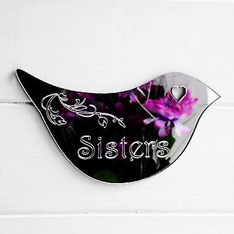 Floral Dove Acrylic Mirror Door or Wall Sign - SISTERS