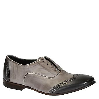 Handmade women's slip-on oxford wingtip shoes in leather
