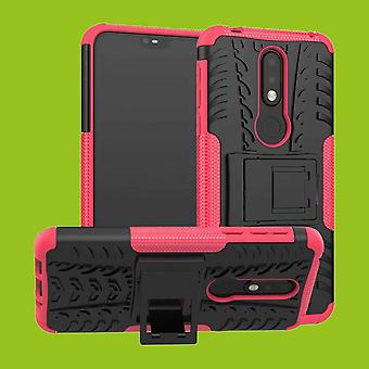 For Nokia 7.1 5.84 inches hybrid tilfelle bag 2 stykke Koczian utendørs rosa tilbehør coveret beskyttelse