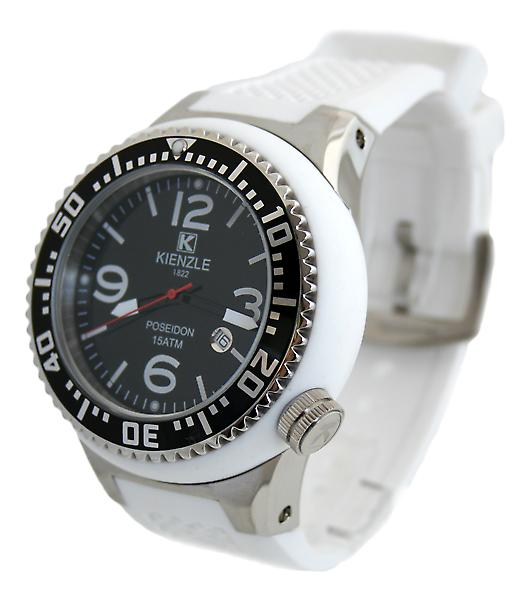 Waooh - Shows Kienzle 720 3046 - white strap - black dial - metal box & white - black bezel & silver