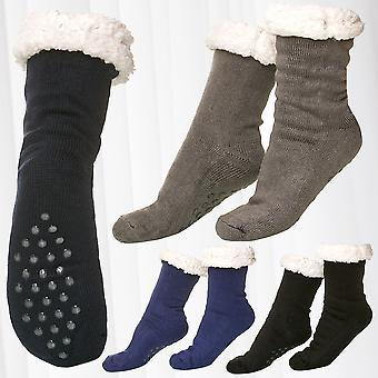 1 Pair Thermo Socks Fully Lined Anti Slip ABS Sole Nubs Fur Warm Knitwear