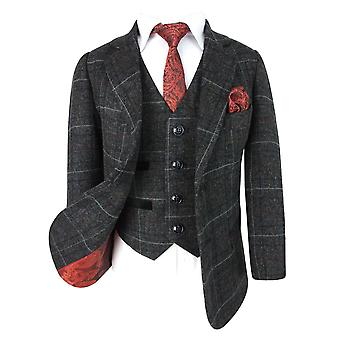 Designer Check Tweed Retro Boys Suit in Dark Charcoal Grey