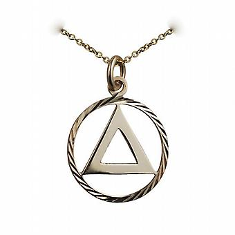 9ct Gold 21mm round diamond cut edge Alcoholics Anonymous Pendant with a cable Chain 16 inches Only Suitable for Children