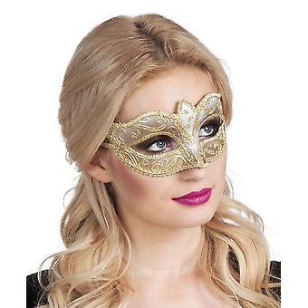 Womens Venetië Felina Gold Eye Mask carnaval Fancy Dress accessoire
