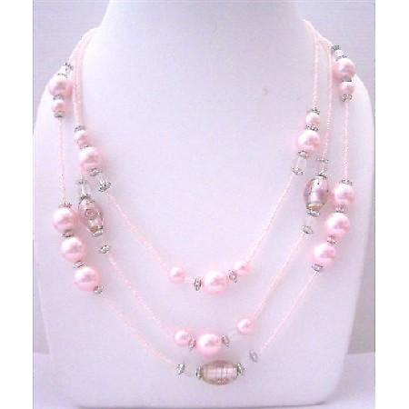 Multi Pink Beaded 3 Strands Necklace pink Pearl Millefiori Painted Beads 20 Inches Long Necklace