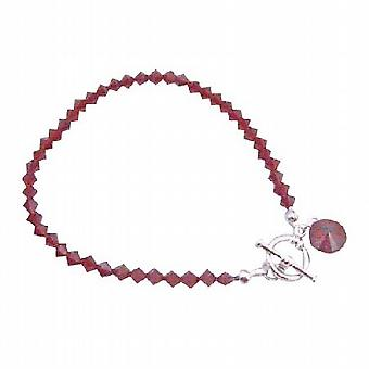 Handcrafted Siam Red Crystal Round Faceted Crystal Drop Down Bracelet