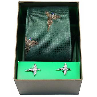 David Van Hagen Flying Pheasants Tie and Cufflink Set - Forest Green