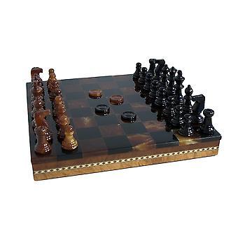 Juego de ajedrez de alabastro con incrustaciones pecho negro y marrón