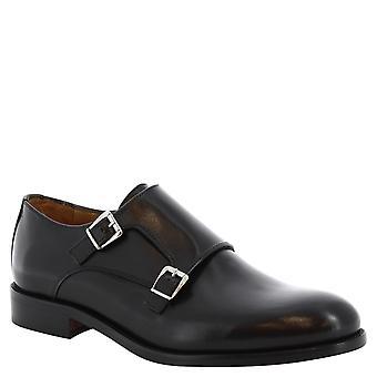Leonardo sko manns håndlaget dobbel munk sko i svart skinn