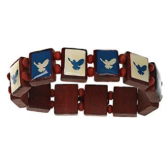 TOC Blue and White Eagle Wooden Peace Design 152mm stretch  Bracelet