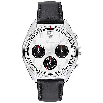 Scuderia Ferrari Mens Abetone Black Leather Strap White Dial 0830569 Watch