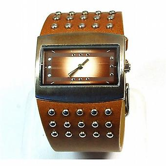 The Olivia Collection Ladies Brown Wide Studded Strap Fashion Watch NL05365