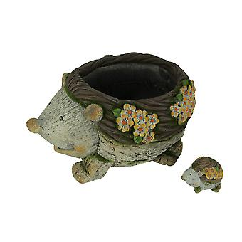 Critter Garden Hedgehog Planter with Mini Statue Set
