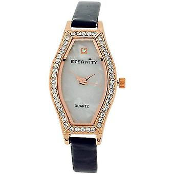 Eternity Ladies Ladies Swarovski Crystal MOP Dial Black PU Strap Watch ET70B