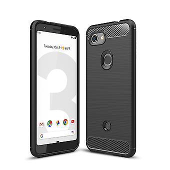 Google pixel 3A TPU cas fibre de carbone optique brossé étui de protection noir