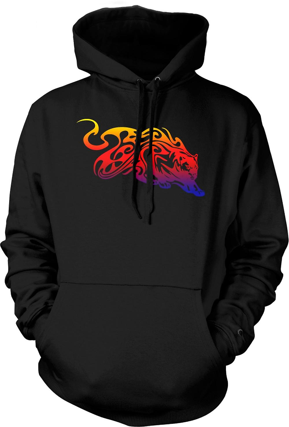 Mens Hoodie - Tribal Tiger With Flames Design