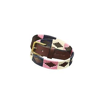 Pampeano Dulce Leather Polo Belt Pink/navy/cream