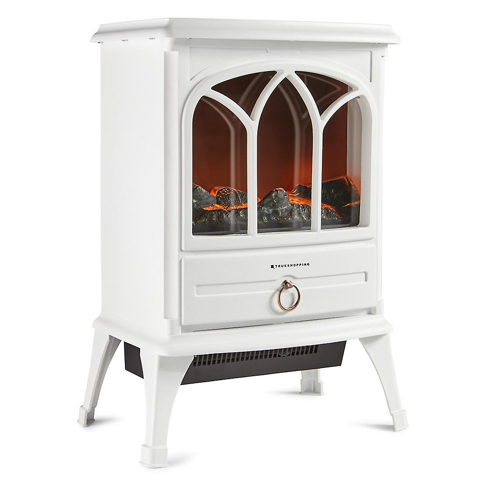 Modern Free-Standing Electric Flame Effect Fireplace Heater (50cm Width | Cream)