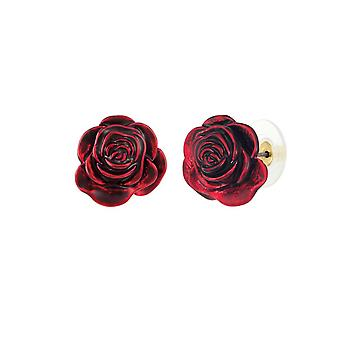 Eternal Collection Red Rose Smalto Oro Tono Fiore Borocco Orecchini