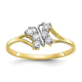 10k Yellow Gold Solid Polished and Rhodium Cubic Zirconia Butterfly Ring