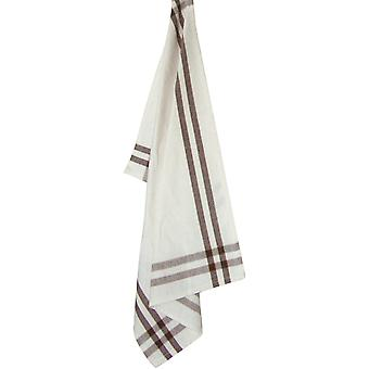 Cream Towel with Brown & Pumpkin Stripes 20