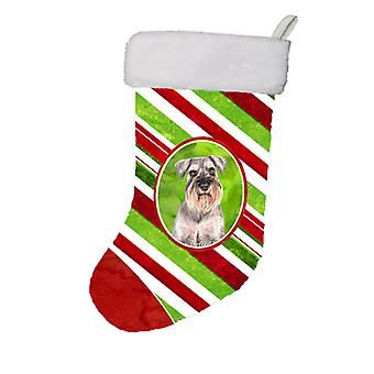 Candy Cane Holiday Christmas Schnauzer julestrømpe KJ1172CS