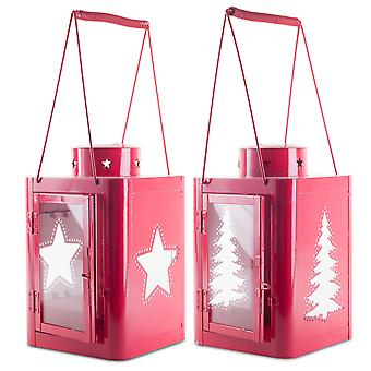 Pair of Large 37cm Red Metal Christmas Star & Tree Cut-Out Candle Lanterns
